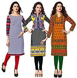 Salwar Studio Women's Pack of 3 Cotton Printed Unstitched Kurti Fabric DT-305-311-320