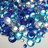 高品質アクリルストーン ラインストーン MIXパック (約1000粒入り) ブルー系
