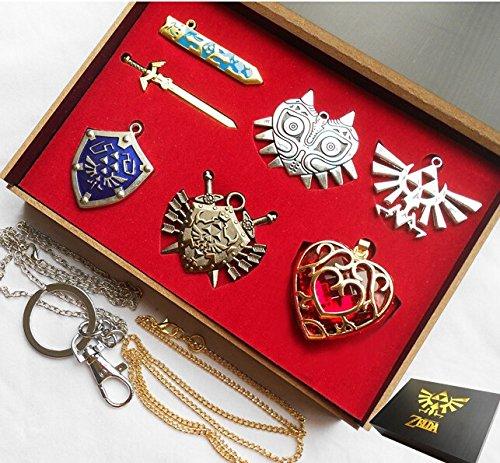 legend-of-zelda-necklace-pendant-keychain-set-blade-weapon-link-shield-links-sword-collection-gift-b