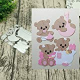 1 Set Bathtub and Baby Bear Metal Cutting Dies Greeting Cards Scrapbooking Die DIY Scrapbooking Card Photo Decoration Supplies