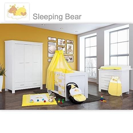 Babyzimmer Enni in weiss 10 tlg. mit 3 turigem Kl. + Textilien von Sleeping Bear, gelb