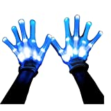 Led Dancing Skeleton Gloves, Hand Flashing Light Shows Halloween Costume, Novelty Christmas Gift (Blue)