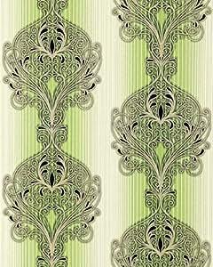 Carta da parati stile neobarocco edem 096 25 damasco verde for Carta da parati oro e argento