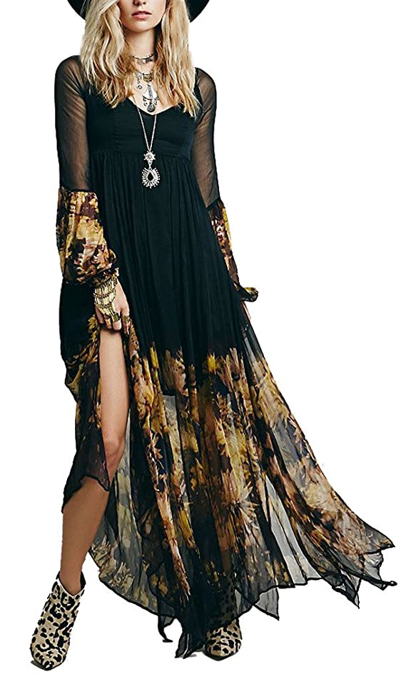R.Vivimos Women Chiffon Flower Printing Split Asymmetrical Long Dresses