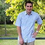 Deluxe Short sleeve white-blue stripped Guayabera Shirt