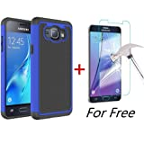 J1 2016 Case, Galaxy Amp 2 Case, Galaxy Express 3 Case, MCUK [Shock Absorption] Hybrid Dual Layer Armor Defender Protective Case With Tempered Glass Screen Protector (Blue) (Color: Blue)