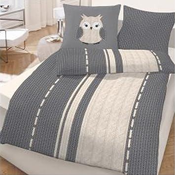 biber bettw sche eule strick 135x200 cm grau anthrazit us82. Black Bedroom Furniture Sets. Home Design Ideas