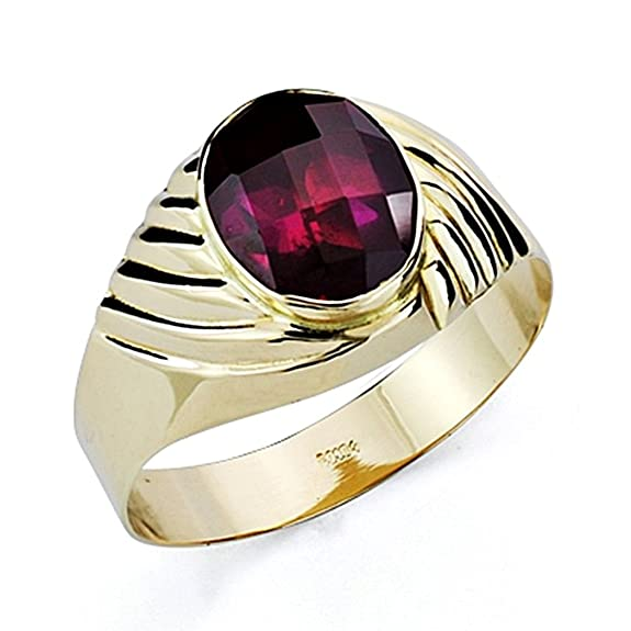18k gold seal Knight hollow oval red stone [7449]