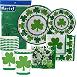 St Patricks Day Disposable Dinnerware Party Bundle - Lucky Shamrocks - Dinner Plates, Dessert Plates, Cups, Napkins and Table Cover (Serves 8)