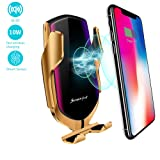 EERIE Smart Sensor Wireless Car Charger Mount, Automatic Clamping QC/QI 10W Fast Charging Car Charger Holder Compatible with iPhone Xs/Xs Max/XR/X /8, Samsung Galaxy Note 9/ S9/ S9+/ S8 etc (Gold) (Color: Gold)