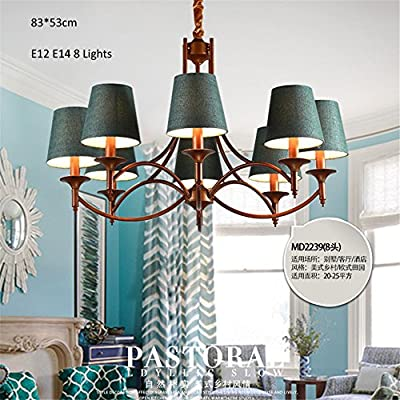 Zhy- Vintage Chandeliers 8 Lights E12 E14 Fabric Clothe Shade Metal Arms Living Bed Dinning Room Retro Lamp ,Yc608