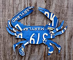Upcycled Vintage Blue Maryland License Plate Crab