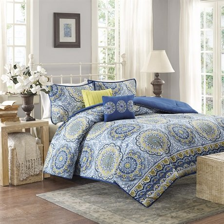 Home Essence - Taza 5 Piece Comforter Set- Grey, Yellow, Blue - Printed - Full or Queen Size - Includes comforter, shams and pillows (Target Queen Comforter Set compare prices)