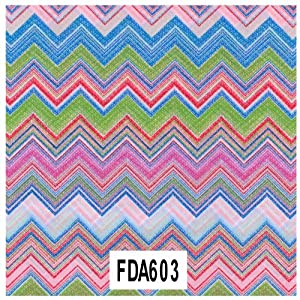 Decopatch paper design 603- Multioloured zig-zags in pink, blue red and green pastels and brights