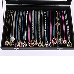 Youngway(TM) Clear Lid 20 Hooks Velvet Jewelry Display Necklaces Organizer Storage Box -Black
