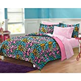 6189pkXbarL. SL160  Neon Leopard Ultra Soft Microfiber Girls Comforter Sheet Set, Multi