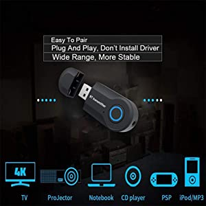 Bluetooth Transmitter Wireless Transmitter V4.2 USB Bluetooth Adapter Connected to 3.5mm Audio Receiver Devices Low Latency Paired for PC TV Headphones Car Home Stereo Music (Black7) (Black7) (Color: Black7)