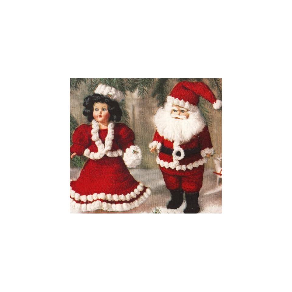 Vintage Crochet Pattern To Make Mr Mrs Santa Doll Clothes 11 In