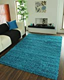 "TEAL BLUE LUXURIOUS THICK SHAGGY RUGS 7 SIZES AVAILABLE 80cmx150cm (2ft7"" x 4ft11"")"