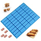 Mity rain 40 Cavities Rectangle Silicone Mold - Caramel Candy Trays Molds for Chocolate Truffles, Ganache, Jelly, Praline, Ice Cube Tray, Gummy(blue) (Color: Blue)
