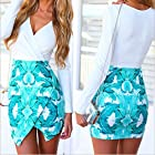Leshery Big Green Leaves Long-sleeved Printed Dress Hip Skirt Jumpsuit Skirt Irregular Dress (M, leaves)