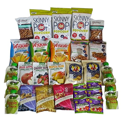 SkinnyPop Porcorn, Glutino Pretzels, YumEarth, and more, all in 100 % GLUTEN FREE Skinny Snack Breaks Care packages(30 Count) for Work, gifts,College Dorm, Military, Parties, and Roadtrips (Pomegranate Apple Sauce compare prices)