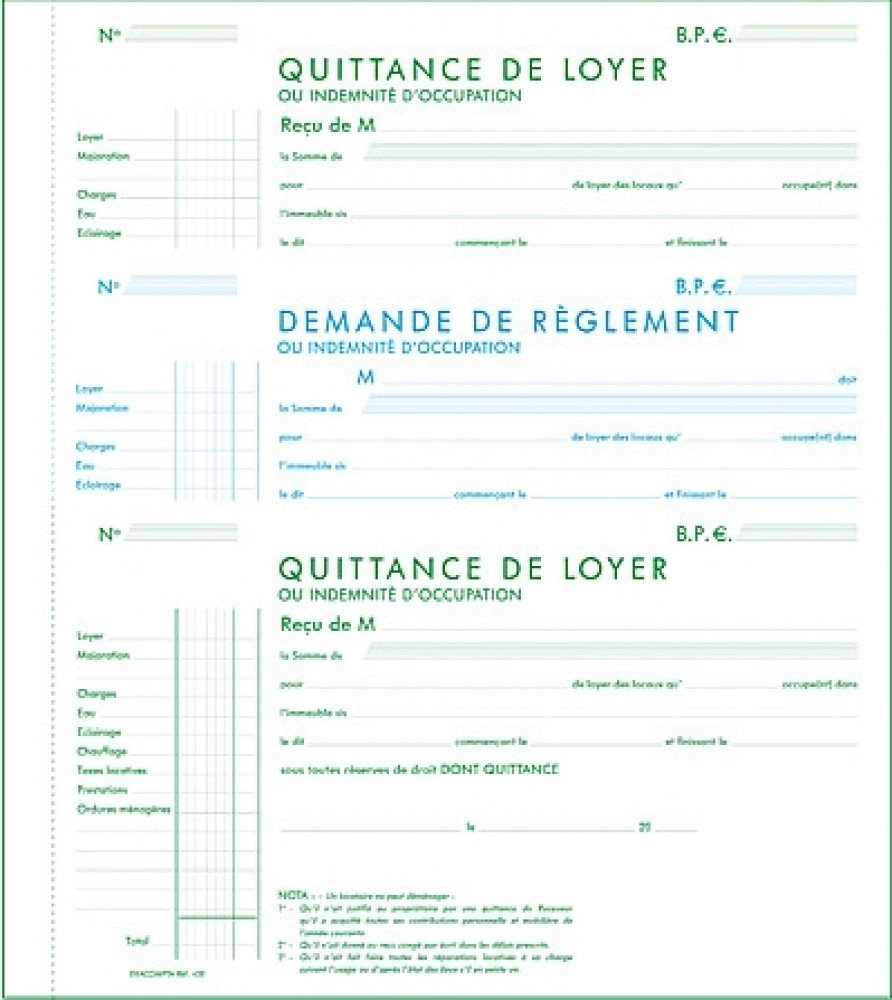 Modele type quittance de loyer document online - Loyer meuble non professionnel ...