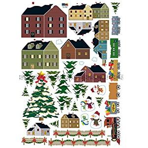 #!Cheap Easy Instant Decoration Wall Sticker Decal - New England/European Snow Covered Village