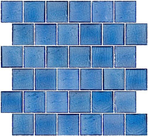 все цены на Susan Jablon Mosaics - 2x2 Inch Transparent Medium Blue Glass Tile Reset In Offset Layout онлайн