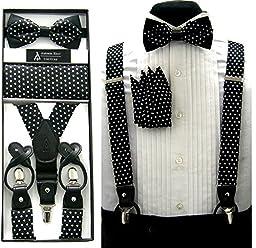 Formal Black & White Polka Dot Convertible Suspenders Pre-tied Bow Tie & Hanky Set