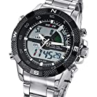 Mudder Mens Outdoor Sport Black Dial Alloy LCD Digital Analog Alarm Back Light Dive Wrist Watch