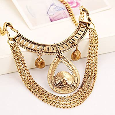 Superhai Luxury Crystal Gem Retro Exaggerated Tassel Necklace Accessories