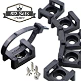 Cable Tie Saddle Screw and Zip tie,50 sets.9mm Black Type Mount Wire Holder Cable Management Zip Tie Anchors,Durability Pro-grade UV Wire Holder (Color: Black, Tamaño: 50 sets cable saddle)