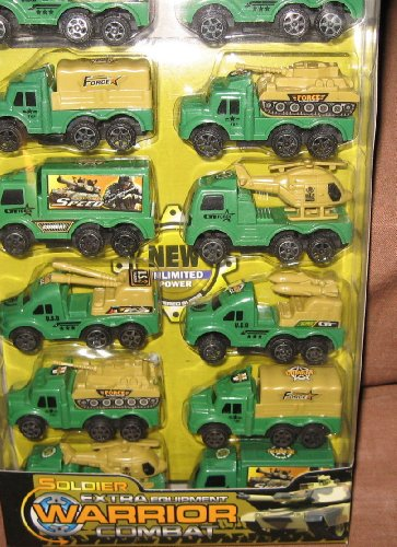 12 Pack Miltiary Pull Back Truck Set