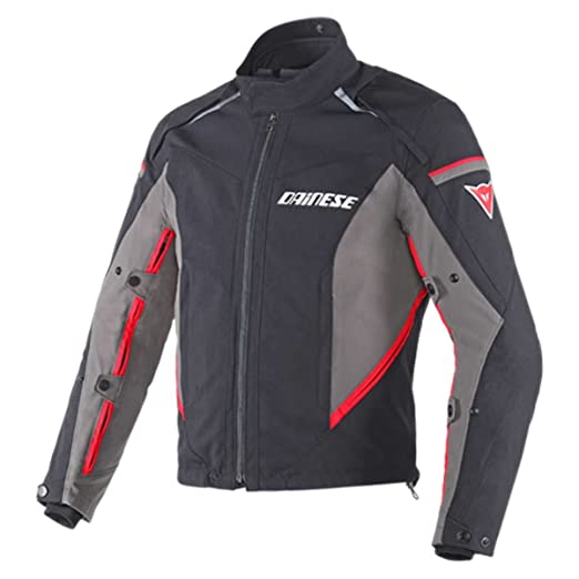 Dainese 1654573_N16_60 Rainsun Veste, Noir/Dark-Gull Grey/Rouge, 60 cm