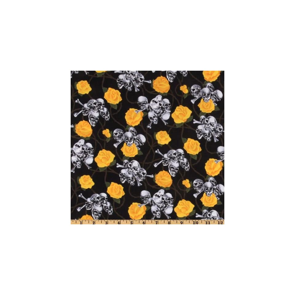 44 Wide Headgear Skulls And Roses Black/Yellow Fabric By The Yard
