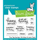 Lawn Fawn LF1421 Tiny tag sayings: birthday clear stamps (Color: Gray)