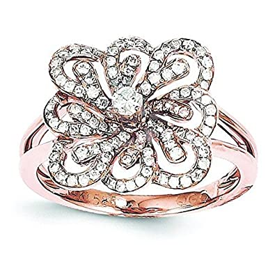 14ct Rose Gold Diamond Flower Ring