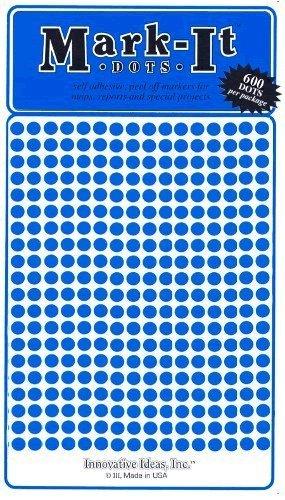 """Map Dot Stickers - Blue - 1/8"""" Diameter - 1"""