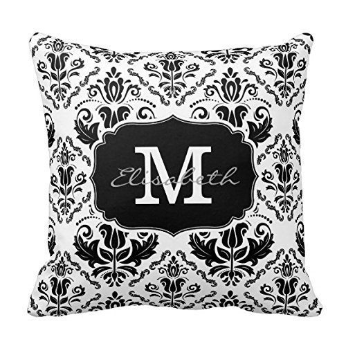 Decors Classic and Chic Black White Damask Monogram Name Decorative Pillow Covers Personalized Custom Pillowcases by Decors (Custom Name Pillowcase compare prices)