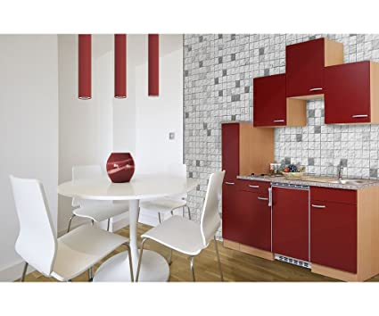 Respekta KB180BR Kitchenette Kitchenette Block Single Kitchen In Beech Red 180 cm 150 cm + 30 Apothecary Cupboard