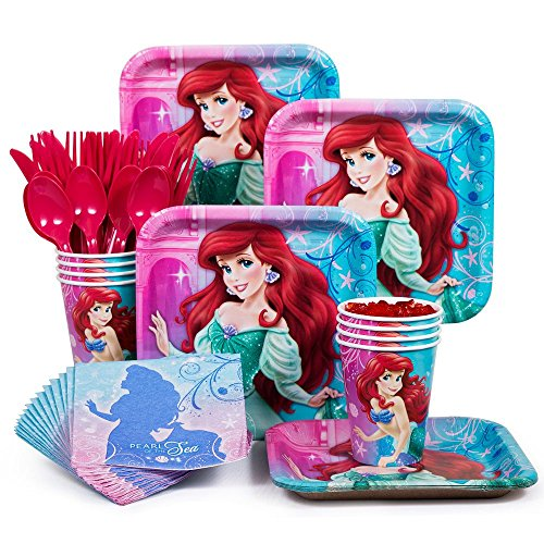 Costume Supercenter BBKIT284 Little Mermaid Standard Birthday Party Tableware Kit