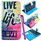 BeeShine Retail Package PU Leather Flip Stand Card Holder iPhone 6 Wallet Case Flap Pouch Cover Skin for Apple iPhone 6 (4.7 inch) + Screen Protector & Touch Stylus Pen (Live the Life you Love Pattern)
