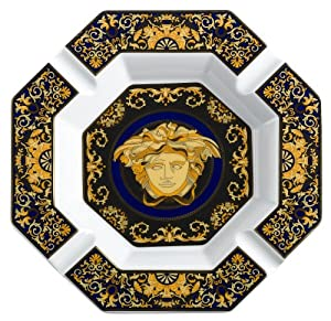 Outdoor Garden Hand Painted Ashtray Gold+Transparent Size : S Transparent Crystal Versace Daddy Gift Ashtray Large Home Decor Office Cigar Ashtray