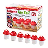 Egg-cellent Egg Cooker Cup Premium Set — Cook Hard boiled, Soft boiled, Poached and Deviled Eggs without the Shell. 6 Silicone Non-stick, Non-spill Egg Maker Cups; FDA and BPA Free; As Seen on TV (Color: Red, Clear)