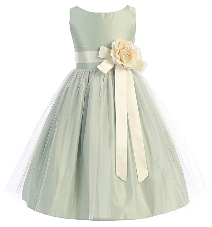 Sweet Kids Little Girls' Vintage Style Satin and Tulle Flower Girl Pageant Dress