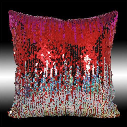 "2X Shiny Hot Pink Red Gold Silver Sequins Cushion Covers Throw Pillow Cases 16"" front-842336"