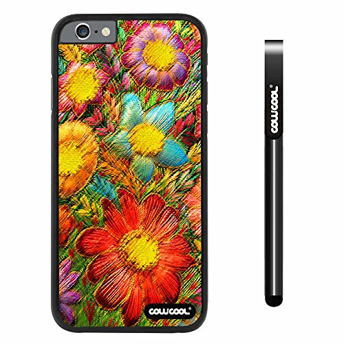 CowCool® Apple iphone 6 4.7 inch Case Hard PC Fashion Design sunflowers plants Black Shell Single Layer Protective Case (Style4)