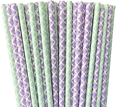 Lilac Lavender and Mint Green Damask Paper Straws - Fairy Garden -Birthday Party Supply Wedding, Bridal Shower 100%Biodegradable 7.75 Inches Pack of 100