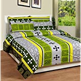 Soni Traders Green Abstract Design Pure Cotton Double Bedsheet With Pillow Cover- Bedsheet- 90 Inches X 90 Inches...